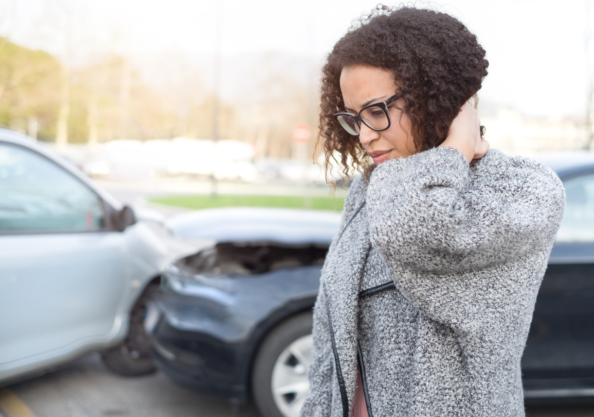 injured woman after car accident