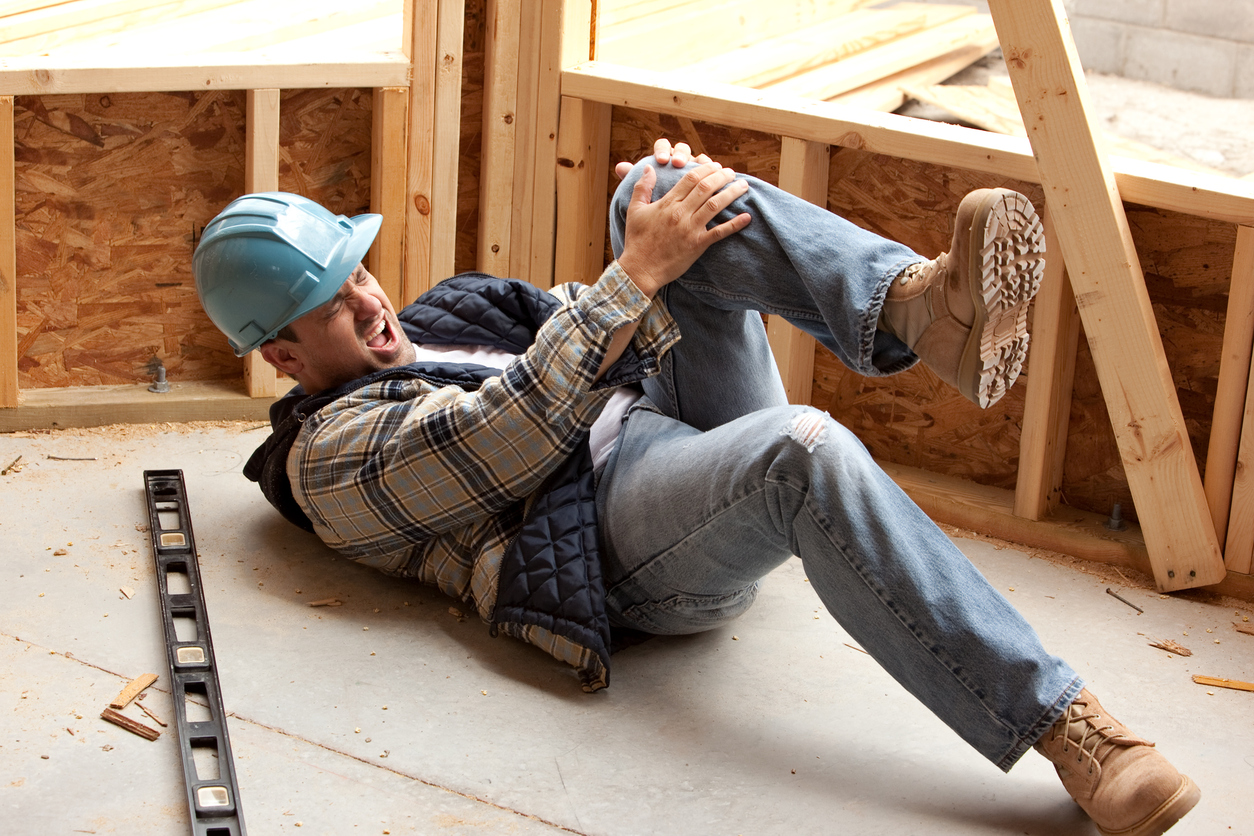 Construction worker falling on the job